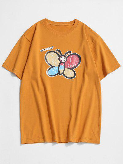 Basic Butterfly Paint Print T-shirt - Bee Yellow Xl