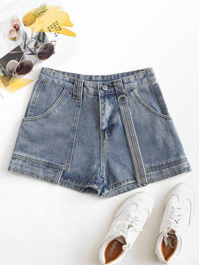 Layered D-ring Strap Denim Shorts - Light Blue M