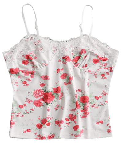Lace Panel Floral Bustier Cami Top