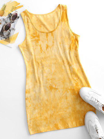 Tie Dye Bodycon Tank Dress - Yellow M