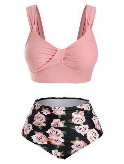 ZAFUL Plus Size Twisted Flower Print Tummy Control Tankini Swimwear - Multi-a Xxxxl