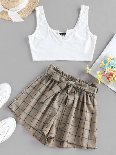 ZAFUL V Notched Grid Paperbag Shorts Set - Tan S