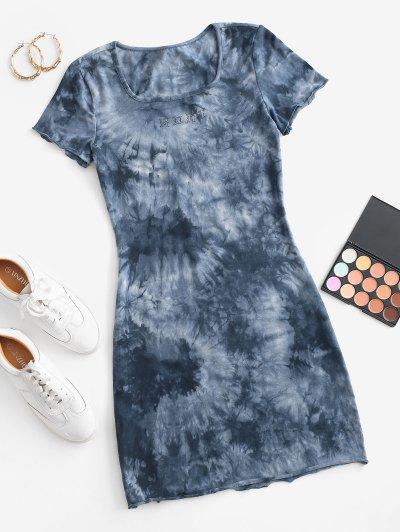 Graphic Tie Dye Casual Tee Dress - Blue S