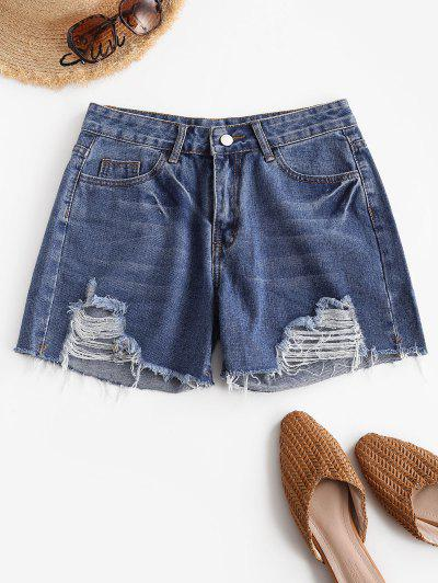 Distressed Pocket Jean Shorts - Blue L
