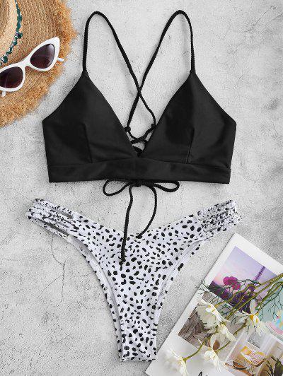 ZAFUL Dalmatian Dot Print Plaited Lace-up Bikini Swimwear - Black M