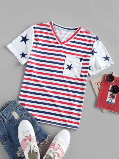Striped Stars Print Pockets Patriotic T Shirt - White S