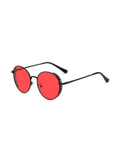 Retro Hollow Holes Round Sunglasses - Red