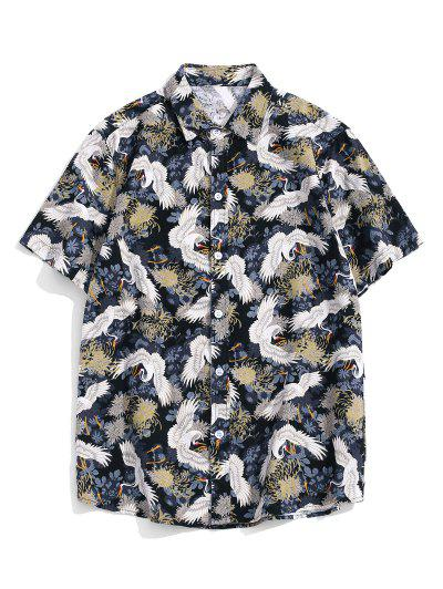 Chinese Cranes Print Button Up Short Sleeve Shirt - Multi-a 2xl