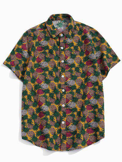 Tropical Pineapple Print Short Sleeve Button Up Shirt - Yellow M