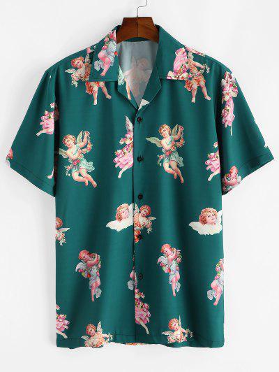 Camisa De Playa Con Estampado De Ángel Floral - Verde Oscuro M