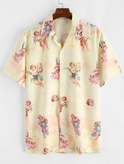 Paradise Floral Angel Print Beach Shirt - Light Yellow 2xl