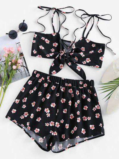 ZAFUL Tie Front Floral Two Piece Set - Black S