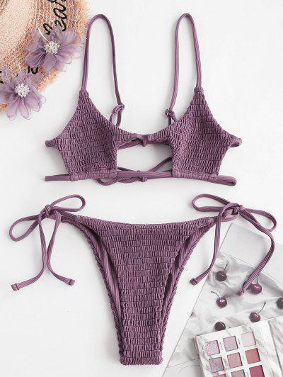 ZAFUL Smocked Ribbed Bralette Keyhole String Bikini Swimwear - Concord S