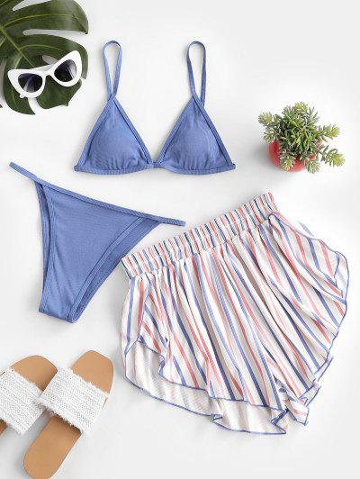 ZAFUL Patriotic American Flag Ribbed Three Piece Bikini Swimwear - Silk Blue M