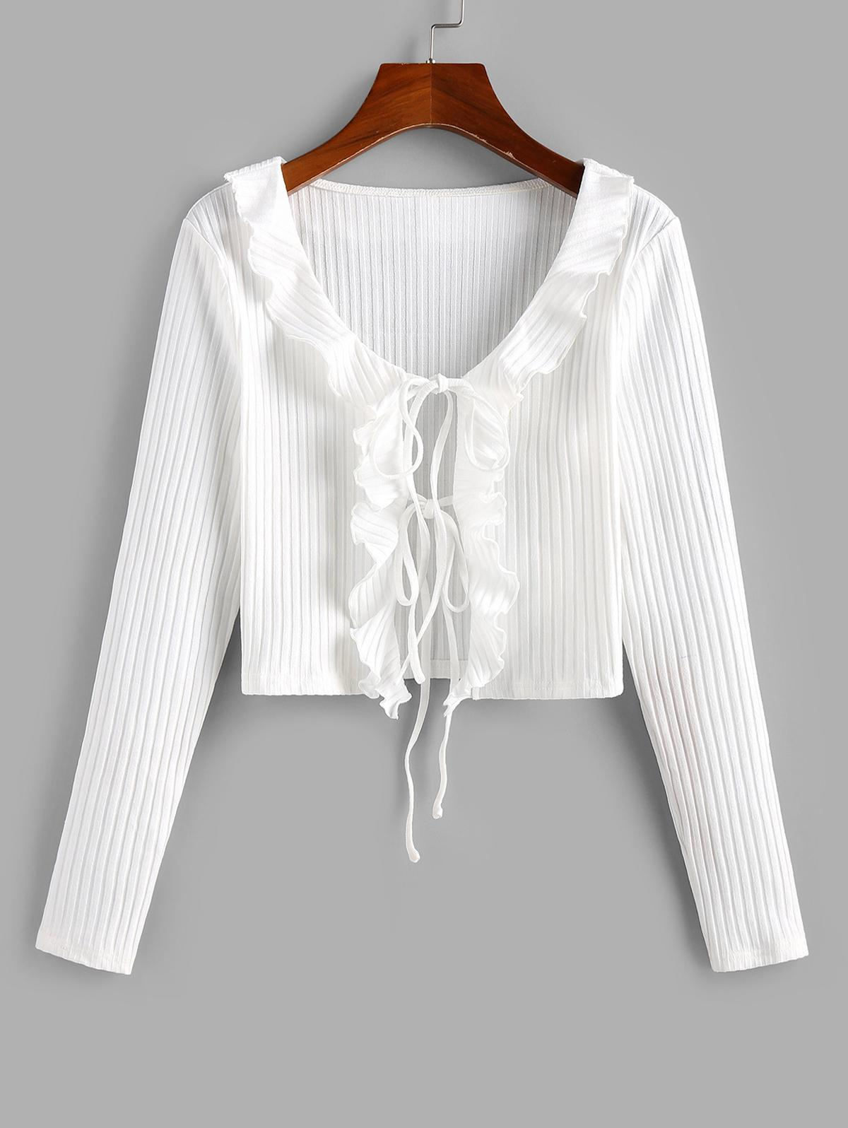 ZAFUL Ribbed Ruffle Tie Front Cardigan
