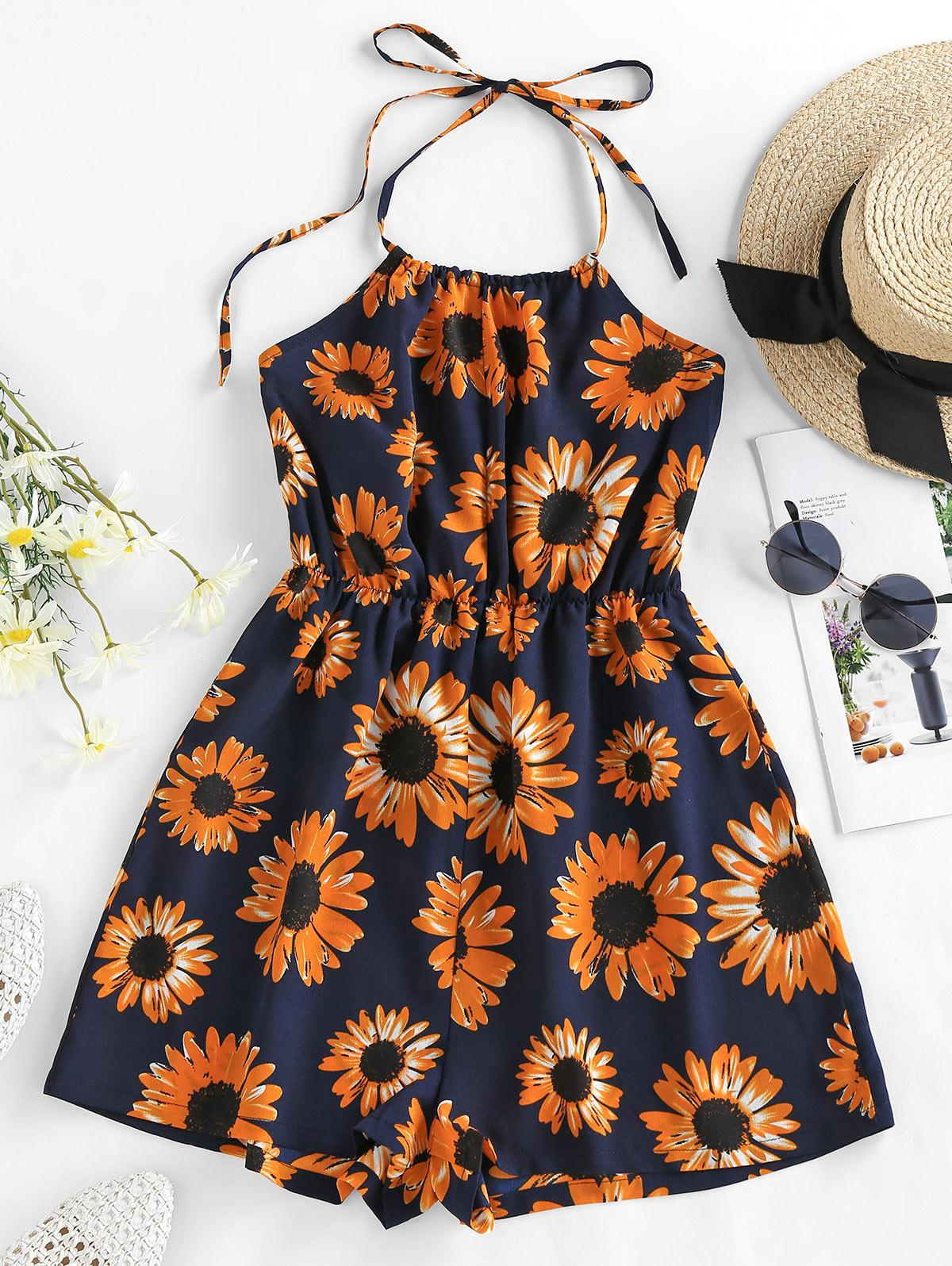 ZAFUL Sunflower Print Halter Romper