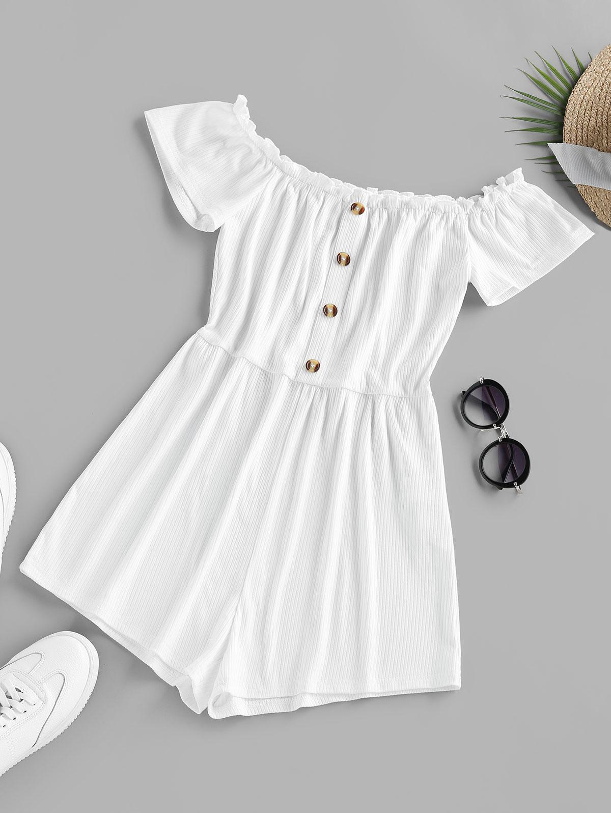 ZAFUL Ruffle Off The Shoulder Ribbed Romper