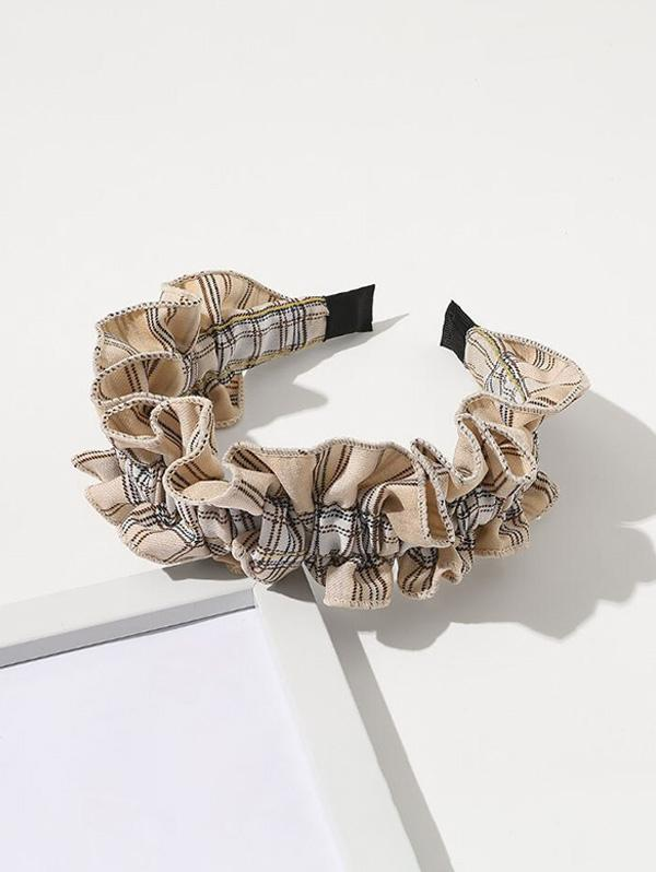 Plaid Print Ruffle Hairband