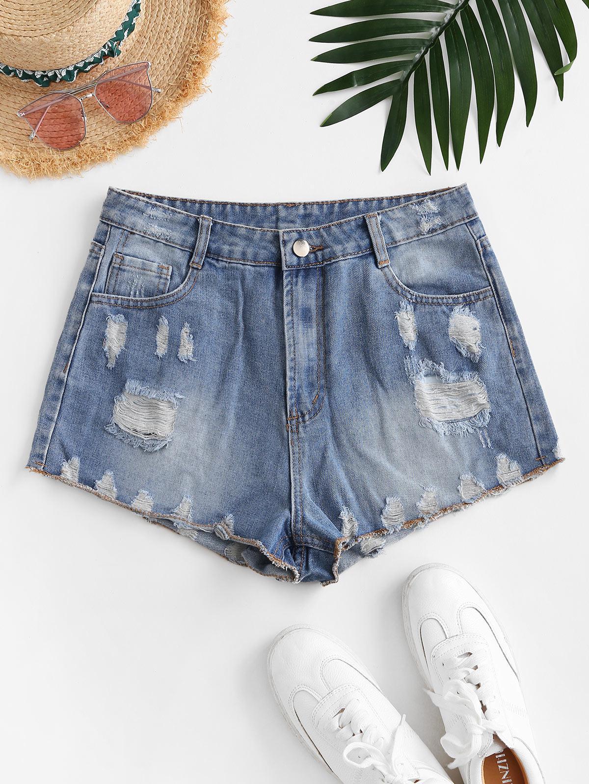 Zip Fly Distressed Mini Denim Shorts