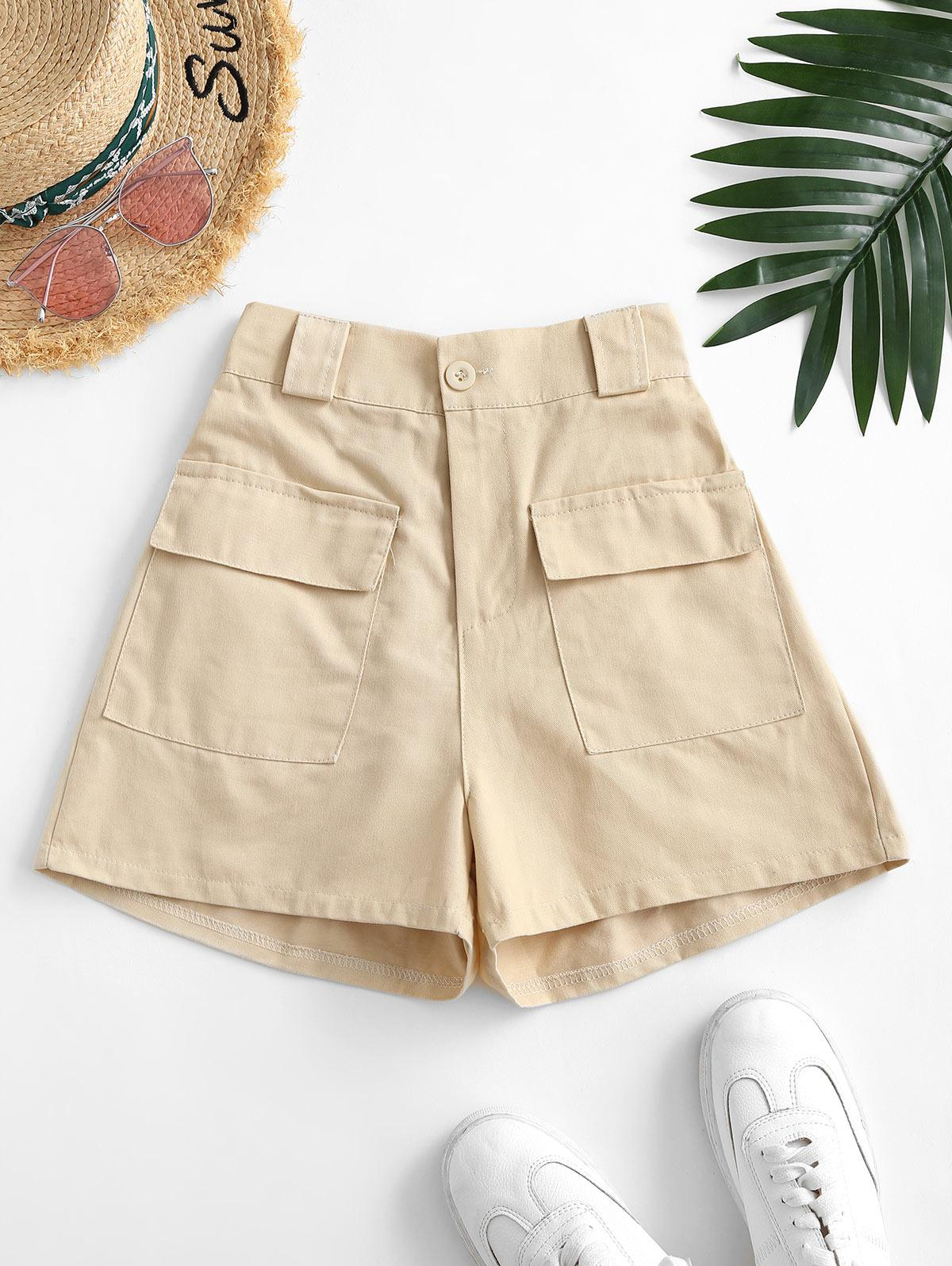 Flap Pockets Solid Cargo Shorts