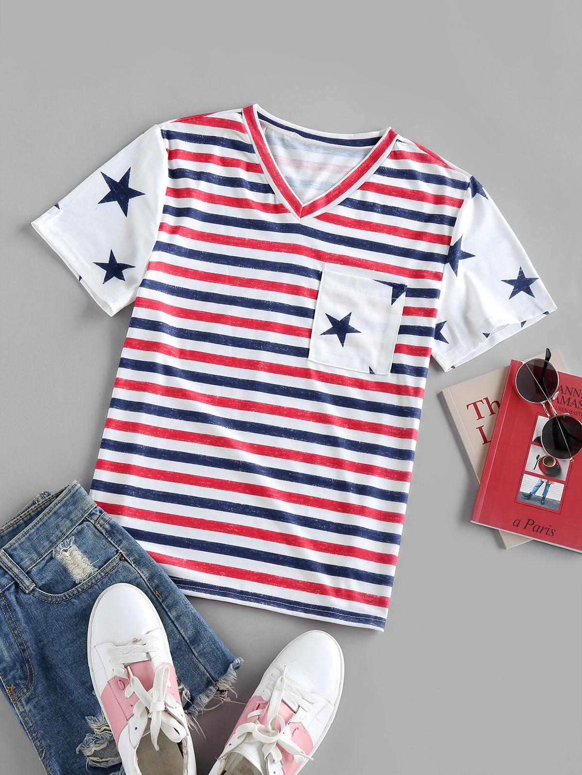 Striped Stars Print Pockets Patriotic T Shirt