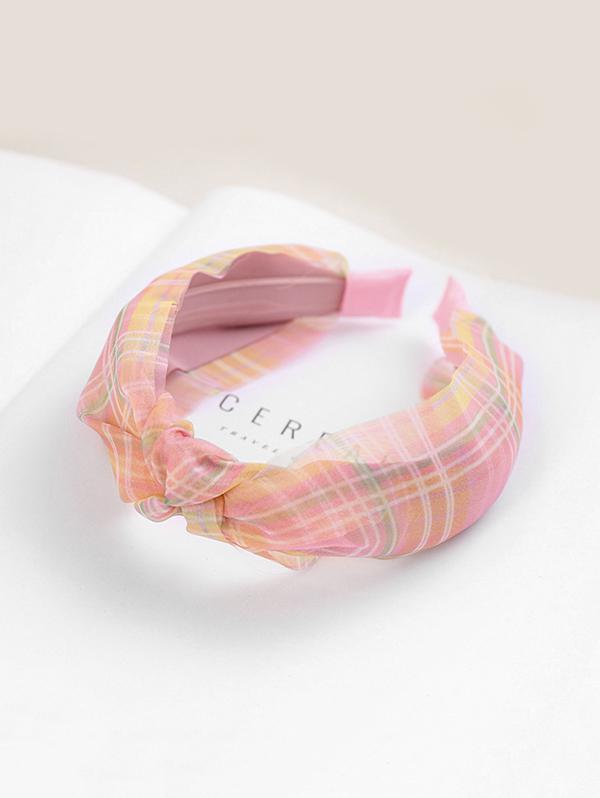 Plaid Print Fabric Knotted Headband