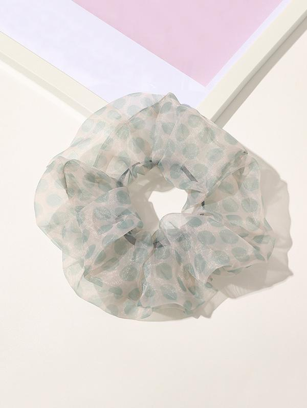 Dot Printed Gauze Fabric Scrunchy