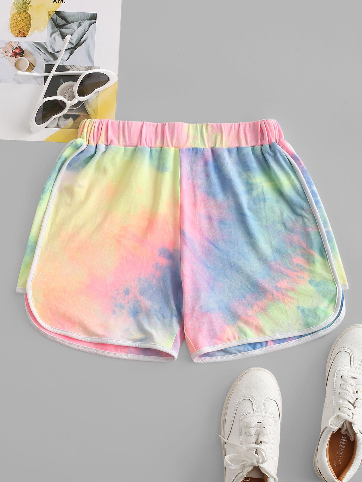 Neon Tie Dye Dolphin Shorts