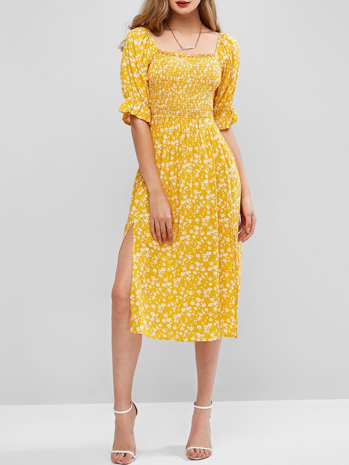 ZAFUL Floral Square Neck Puff Sleeve Smocked Slit Dress