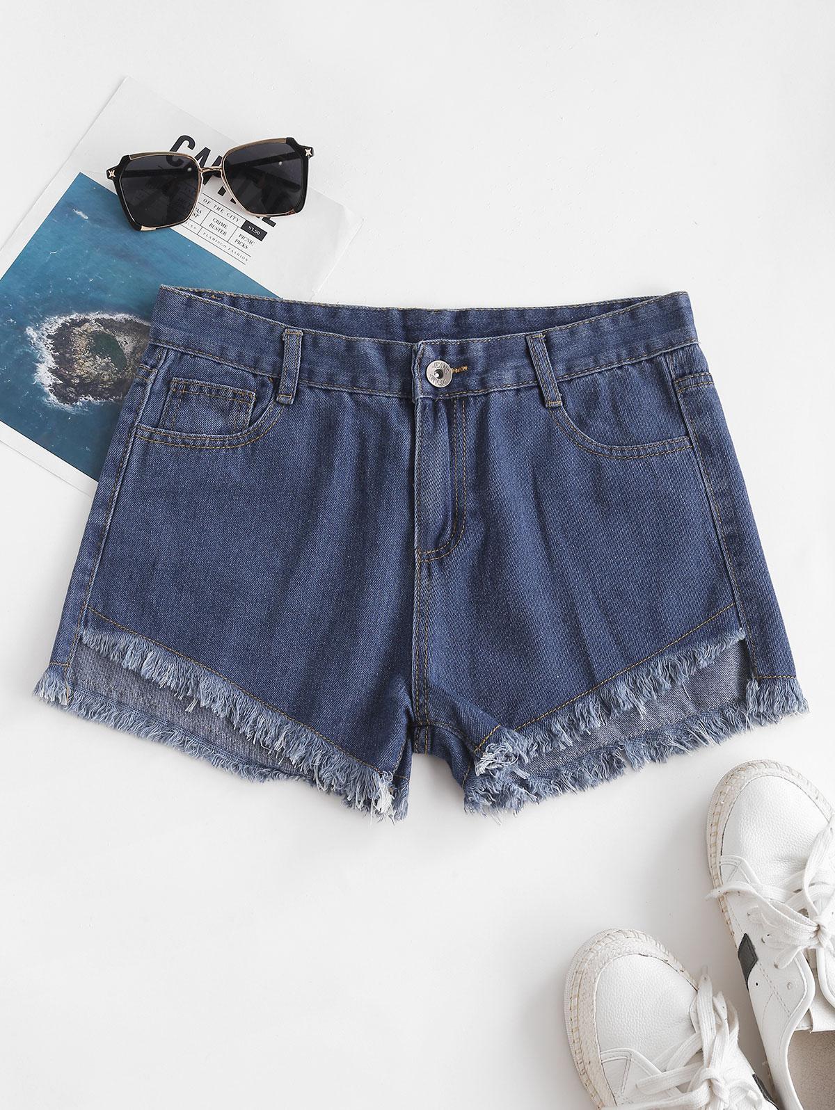 Frayed Hem Five Pocket Denim Shorts