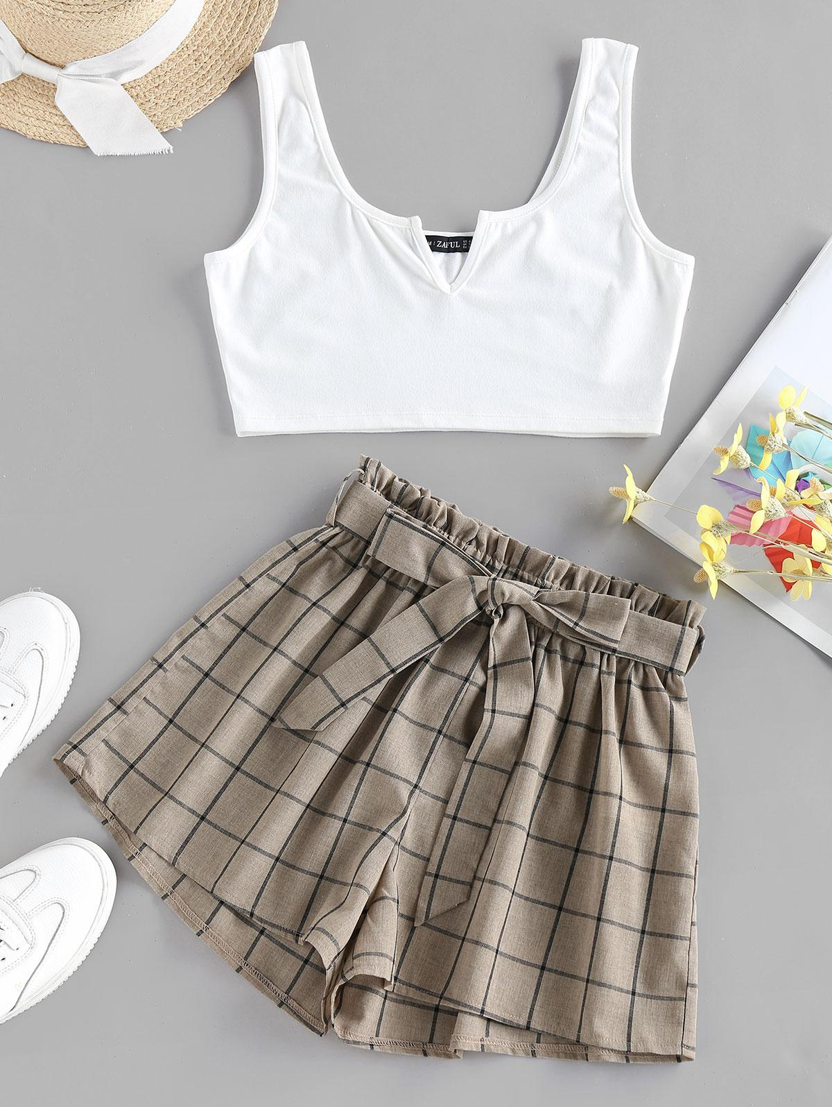 ZAFUL V Notched Grid Paperbag Shorts Set