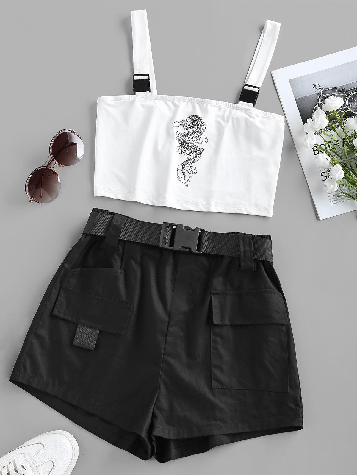 ZAFUL Oriental Dragon Print Top and Cargo Shorts Set