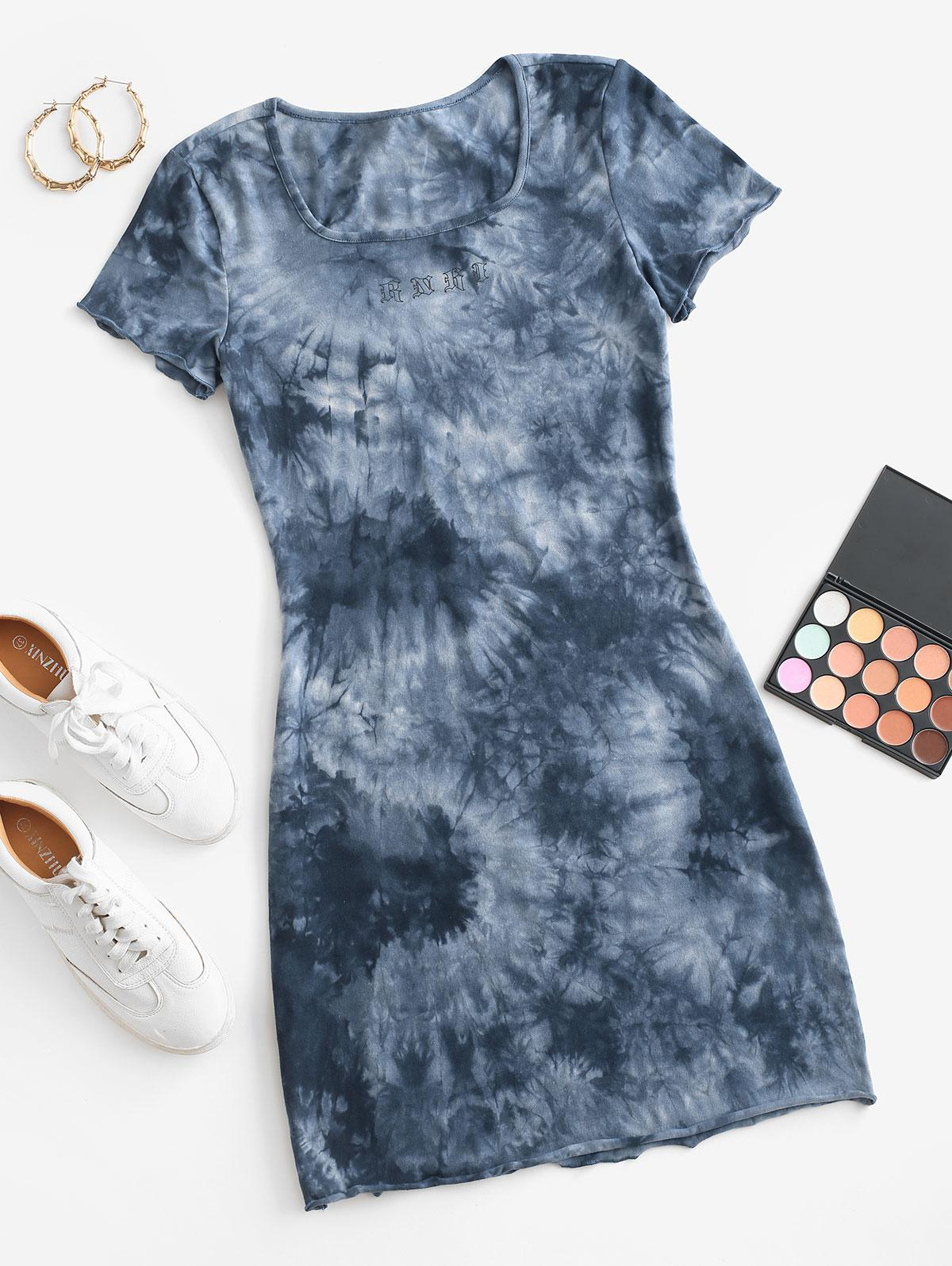 Graphic Tie Dye Casual Tee Dress