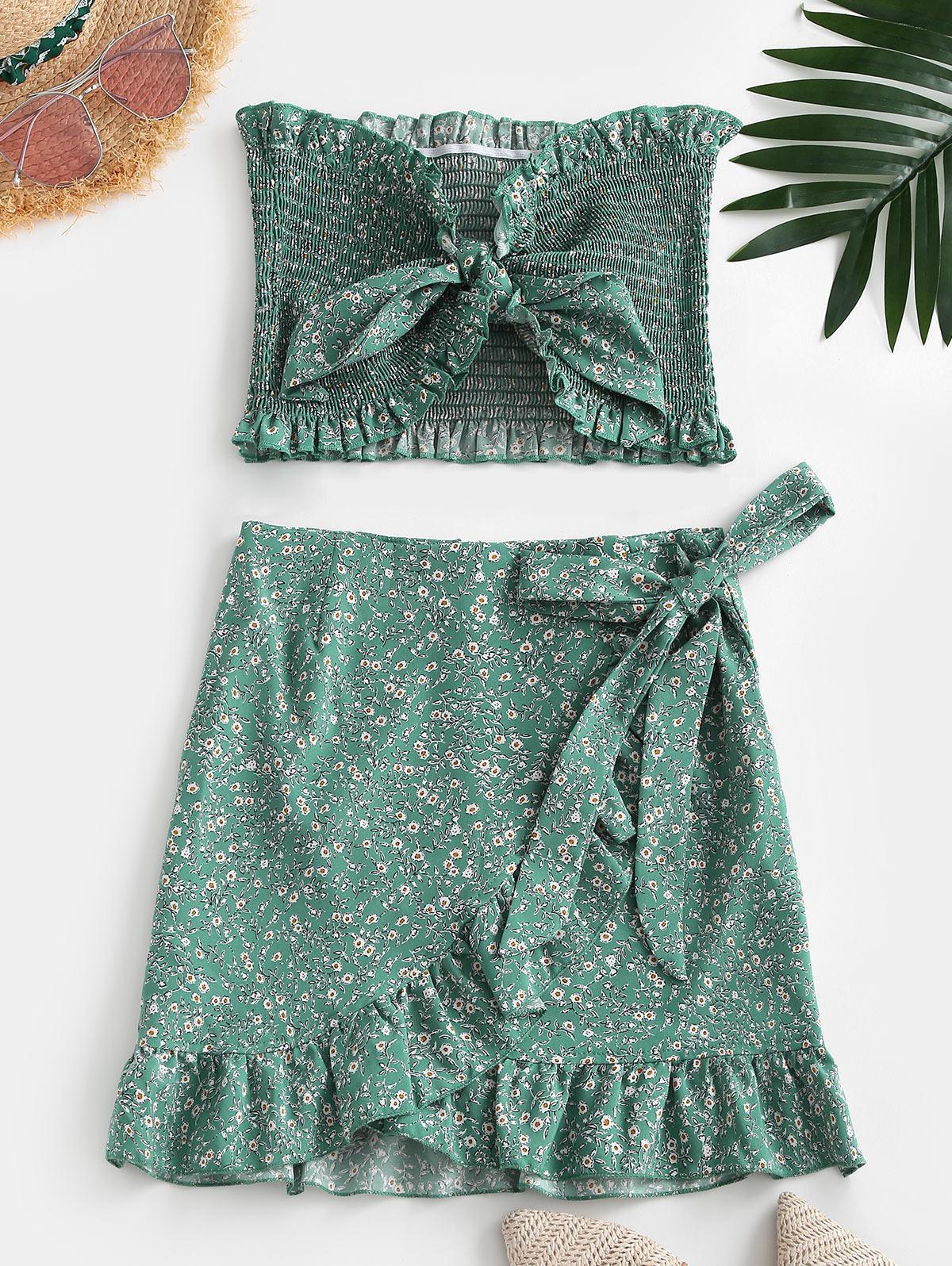 Tiny Floral Smocked Ruffles Skirt Set