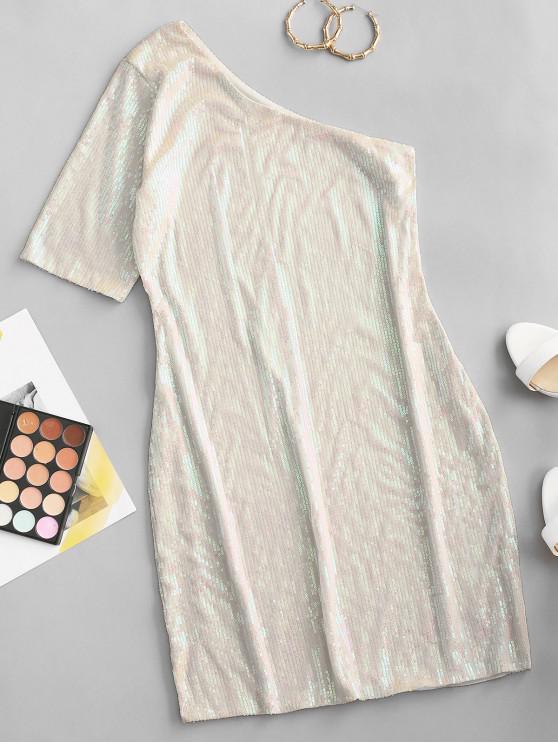 ZAFUL Vestido Brillante de Un Hombro de Lentejuelas - Blanco L