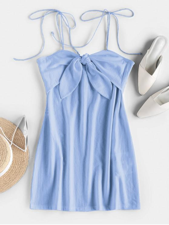 outfits ZAFUL Tie Shoulder Knotted Cami Mini Dress - LIGHT BLUE S