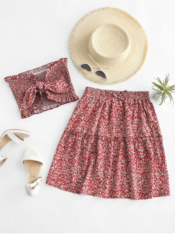 best Ditsy Floral Tie Front Smocked Bandeau Top Set - RED L