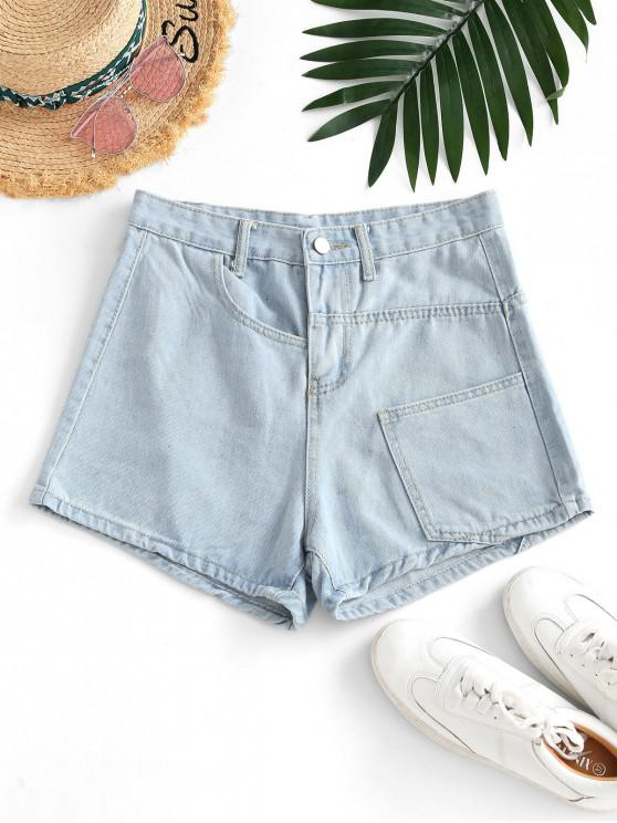 women Pocket High Waisted Loose Denim Shorts - LIGHT BLUE M