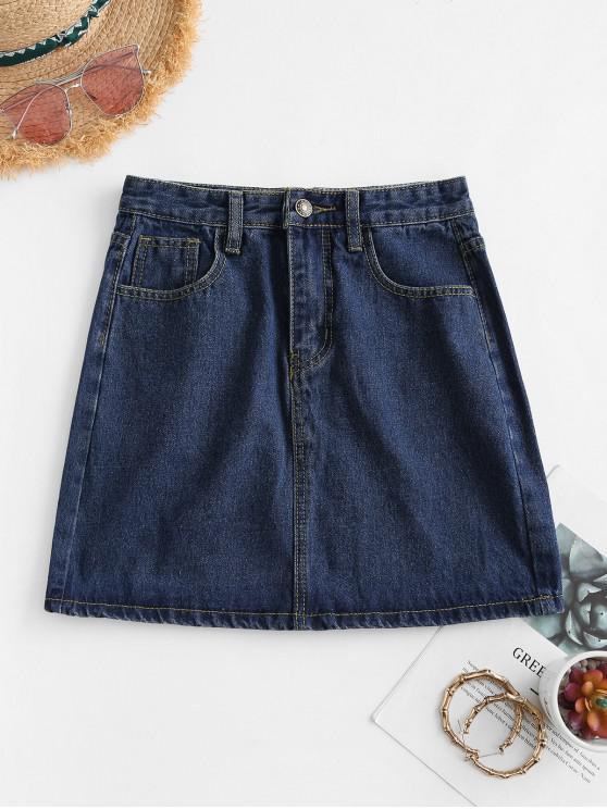 Saia jeans com - Azul Escuro XS