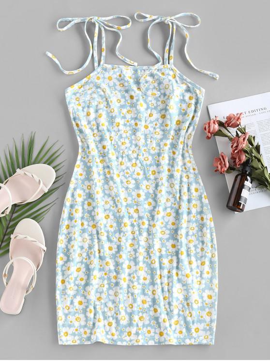 women ZAFUL Flower Print Tie Shoulder Bodycon Dress - LIGHT BLUE S