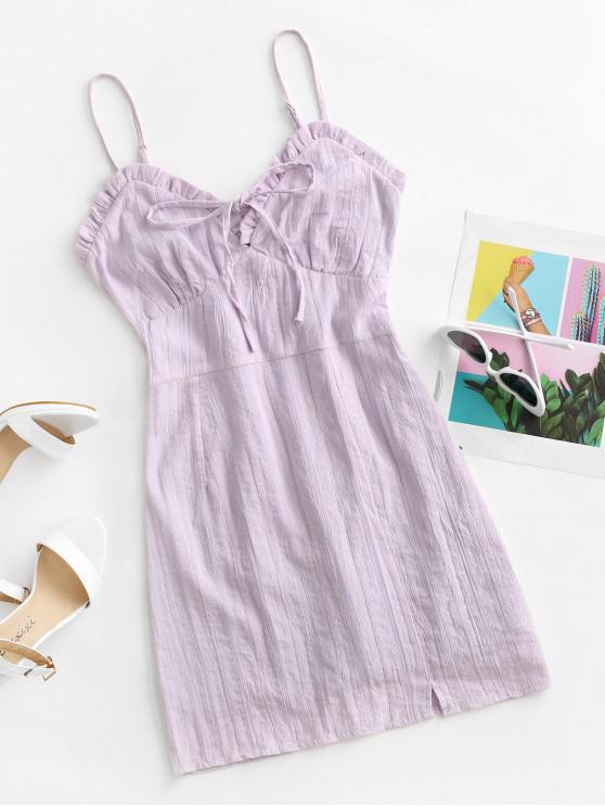 chic Ruffle Bowknot Cami Mini Dress - LIGHT PURPLE L