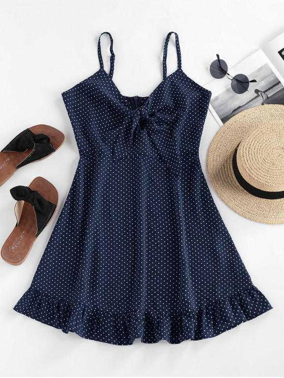 outfits ZAFUL Ditsy Polka Dot Ruffle Knotted Dress - CADETBLUE M