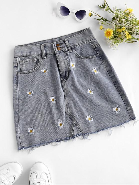ladies Frayed Hem Daisy Embroidered Denim Skirt - LIGHT BLUE M