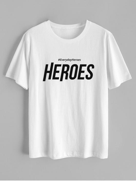 ZAFUL Heroes Graphic Basic T-shirt - أبيض M