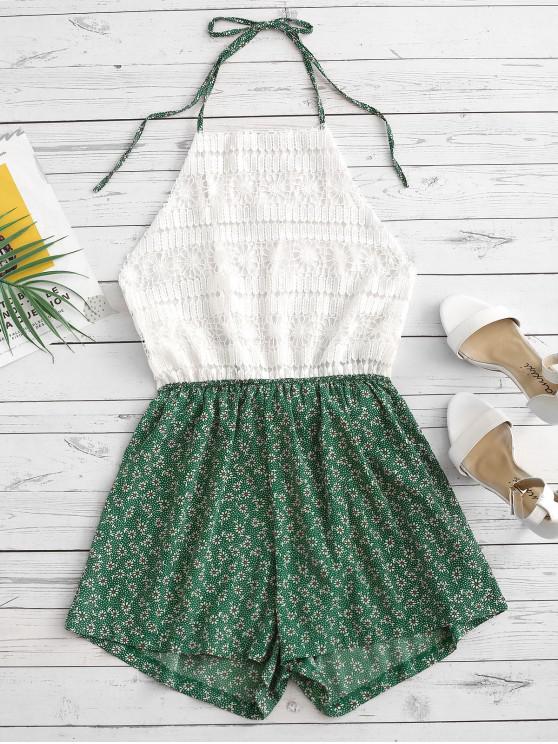 trendy Ditsy Print Crochet Lace Panel Halter Romper - GREEN M