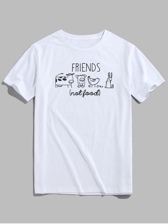 ZAFUL Cartoon Animals Print Funny T-shirt - أبيض S