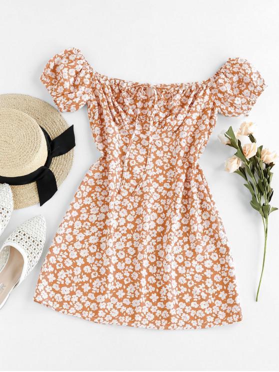 ladies ZAFUL Ditsy Floral Off Shoulder Tie Dress - LIGHT SALMON S
