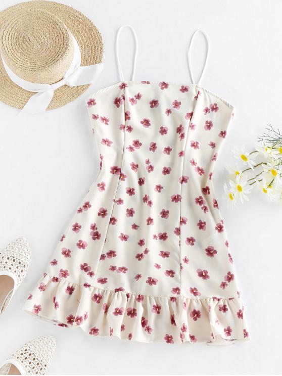 new ZAFUL Flounce Floral Print Cami Dress - CRYSTAL CREAM XL
