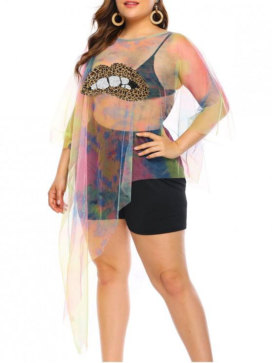 affordable Leopard Sequined Tie Dye Plus Size Beach Cover Up - MULTI-A 4X