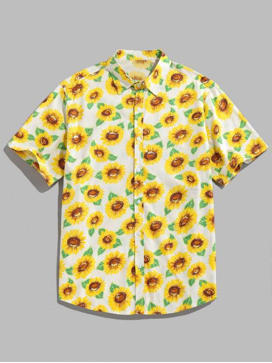ZAFUL Sonnenblumendruck Knopf Hemd - Gelb 2XL